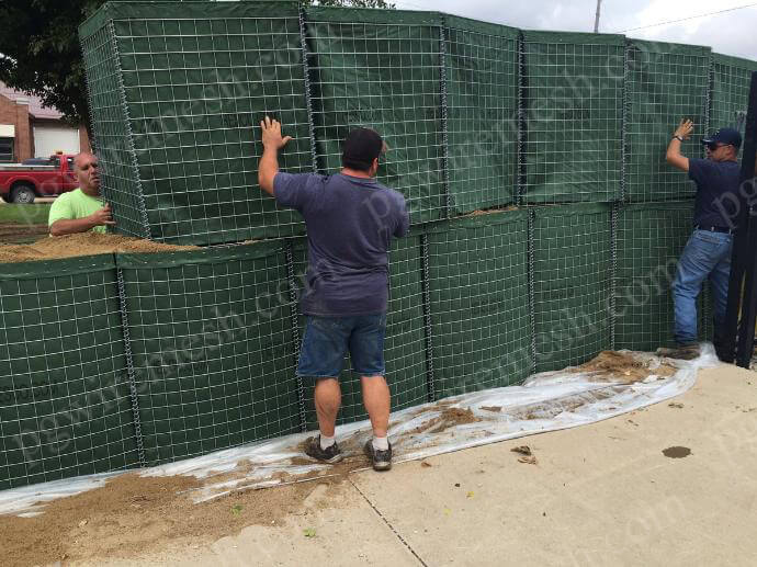 Rapidly depolyed military security barrier wall sand cage barrier for force protection