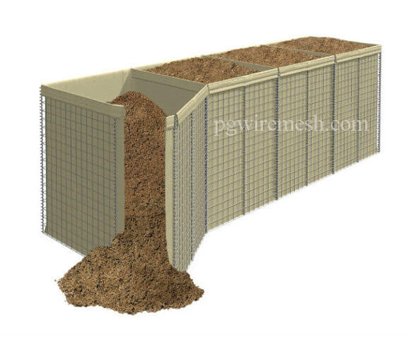 Recoverable MIL1 Military Defensive Barrier Ballistic Barrier With Beige Color Geotextile